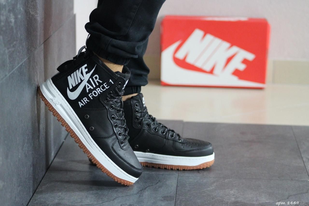 Мужские осенние высокие кроссовки Nike Air Force 1,черно -белые