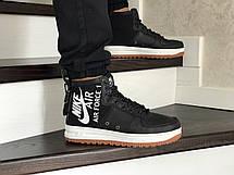 Мужские осенние высокие кроссовки Nike Air Force 1,черно -белые, фото 3