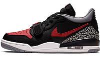 Мужские кроссовки Nike Air Jordan Legacy 312 Low Black Red Grey (найк аир джордан 312, черные/красные/серые)