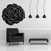 Виниловая интерьерная наклейка Роза (цветы, растения, маки), матовая черная