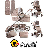 Трансформер коляска- книжка одноместная Bertoni (Lorelli) S-500 Set beige traingles бежевый