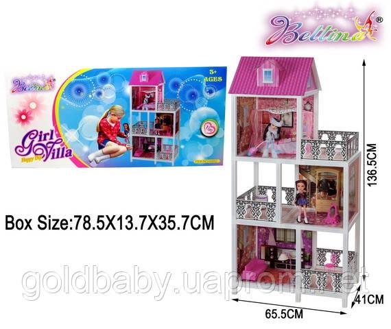 Кукольный домик три этажа, три балкона две куклы 66892