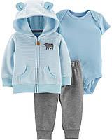 """Спортивный костюм """"Ведмежонок"""" голубой с ушками Carter's для мальчика, синяя кофточка на флисе для малыша"""