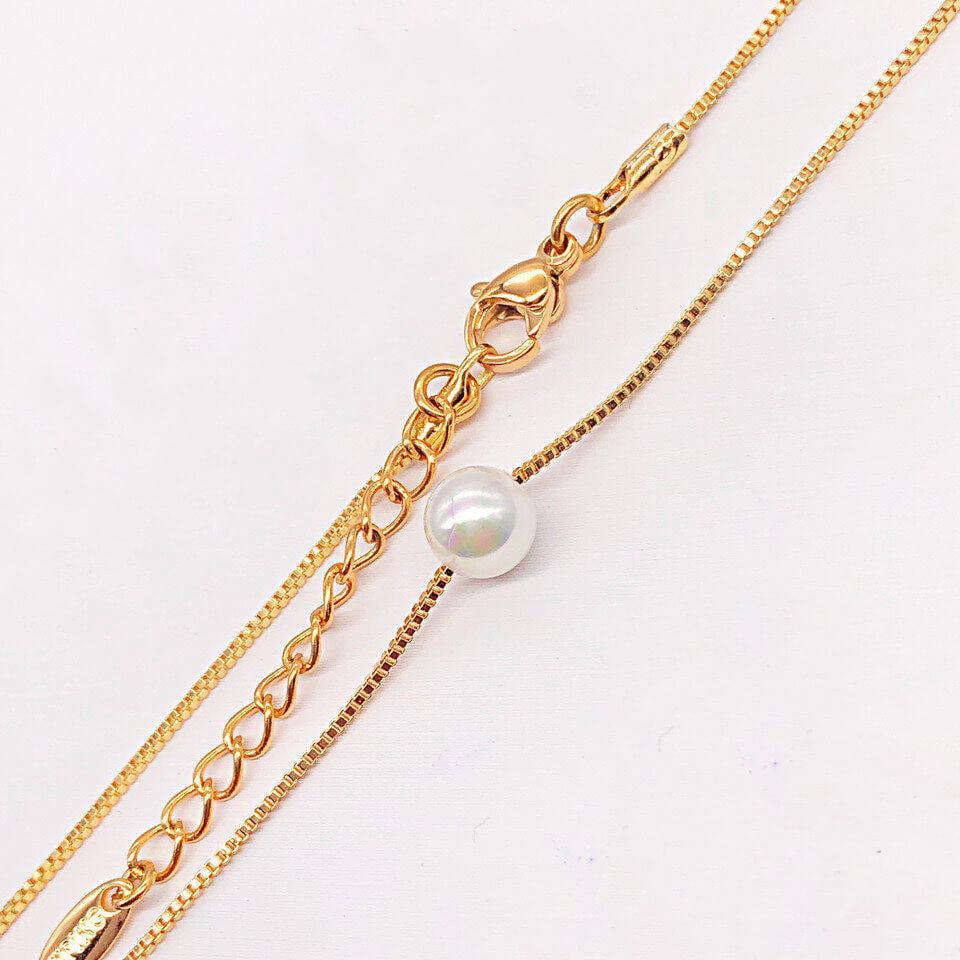 Цепочка с жемчужиной Xuping Jewelry 44/47 см медицинское золото, позолота 18К. А/В 4260