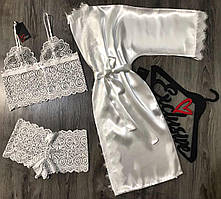 Белый набор одежды кружевной комплект белья+халат с кружевом.