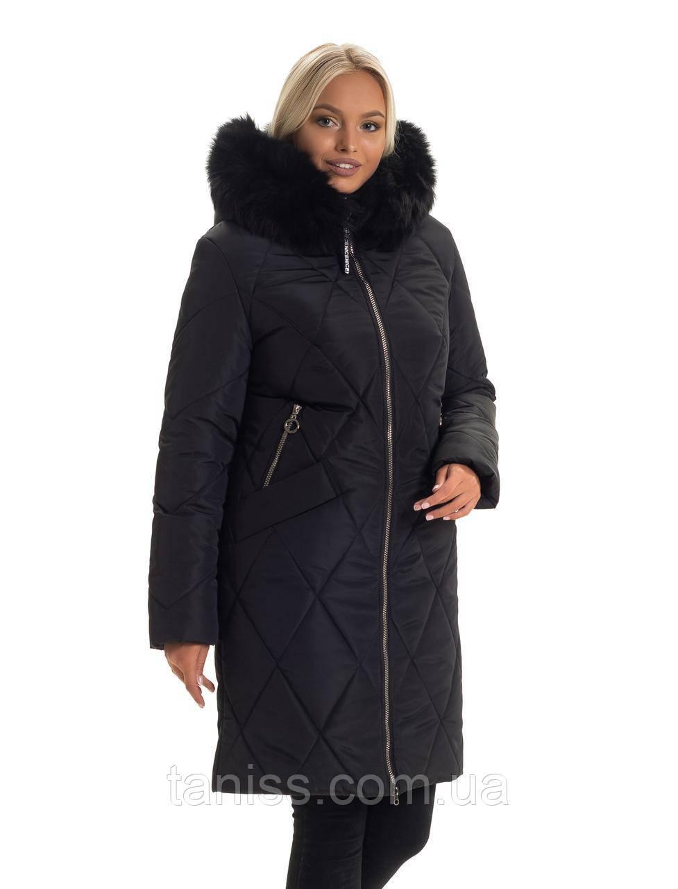 Зимний, женский пуховик большого размера,мех песец съемный, капюшон вшитый. размеры 44-52, черный(136)песец