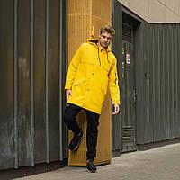 """Летняя стильная удлиненная мужская куртка-плащ """"Джек"""" ярко-желтая - XS"""