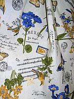 Ткань хлопковая в стиле прованс колибри, цвет синий