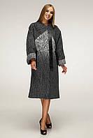 Пальто женское с отделкой из эко-кожи рр 44-54