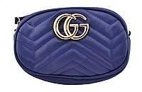 Женская поясная сумочка GUCCI Marmont | сумка на пояс Гуччи Синяя