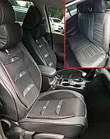 Автомобильные чехлы на сидения Pegas черный с красной строчкой для Mitsubishi авточехлы