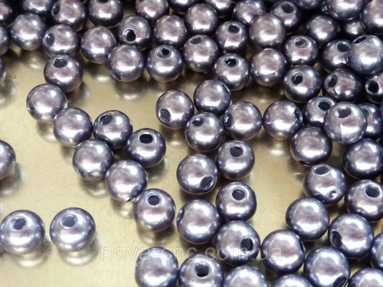 "Бусины пластик  ""шар гладкий"" серый с сиреневым 7 мм 500 грамм"