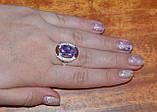 Кольцо серебряное 925 пробы с накладками золота 375 пробы, фото 5