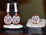 Серьги серебряные 925 пробы с накладками золота 375 пробы, фото 5