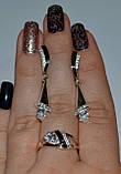 Серьги серебряные с золотыми вставками, фото 3