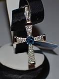 Серебряный крестик из серебра с золотыми вставками, фото 2