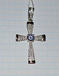 Серебряный крестик из серебра с золотыми вставками, фото 3