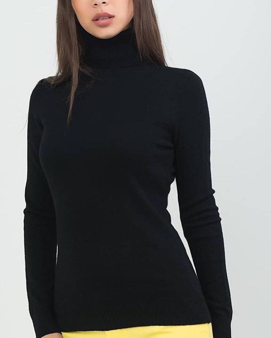 Водолазка женская базовая черная Milano Zone кашемировые Милано с высоким горлом и манжетами L | XL