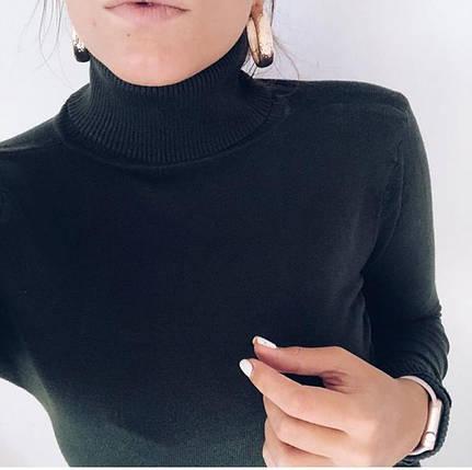 Водолазка женская базовая черная Milano Zone кашемировые Милано с высоким горлом и манжетами L | XL, фото 2