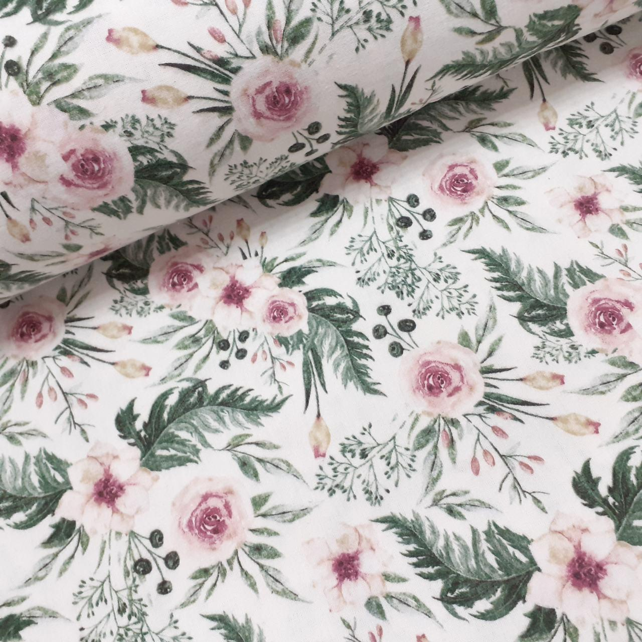 Фланелевая ткань розовые цветы с зелеными листьями