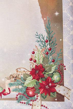 Скатерть новогодняя тканевая гобеленовая 180 х 137 см скатертина новорічна гобеленова, фото 2