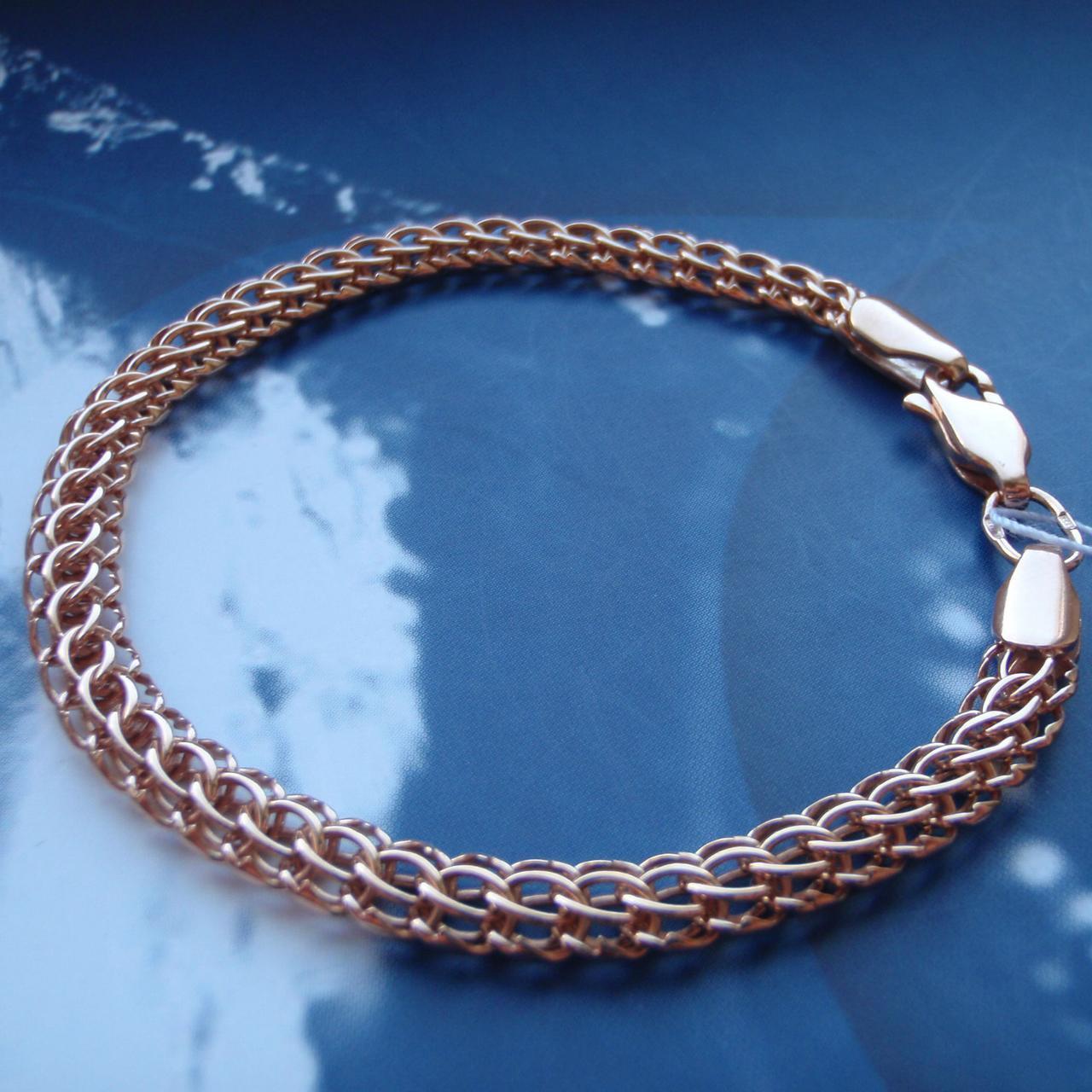 Срібний позолочений браслети, 225мм, 11 грам, плетіння Пітон