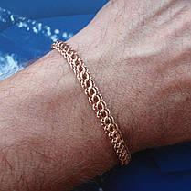 Срібний позолочений браслети, 225мм, 11 грам, плетіння Пітон, фото 2