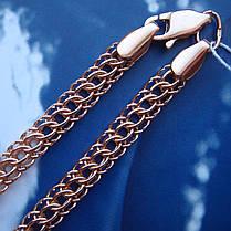 Срібний позолочений браслети, 225мм, 11 грам, плетіння Пітон, фото 3