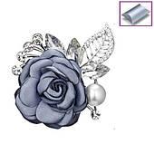 Брошь Цветок серый
