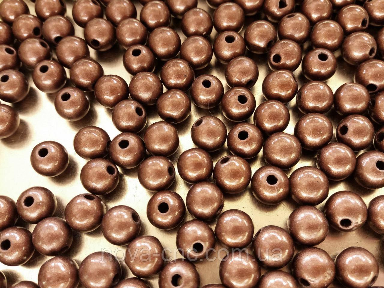 """Намистини """"куля гладкий"""" коричневий 9 мм 500 грам"""