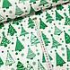 Хлопковая ткань польская зеленые елочки на белом, фото 2