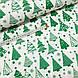 Хлопковая ткань польская зеленые елочки на белом, фото 3