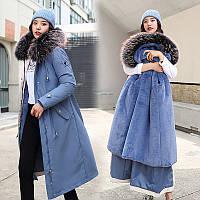 Женское меховое пальто парка длинное, большой меховой капюшон премиум качество (NORI - 00103)