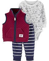 Комплект тройка бордовый для мальчика carters, бордовая жилетка + штаны + боди на длинный рукав картерс