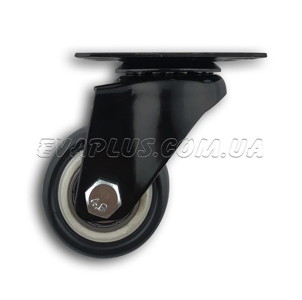 Поворотное колесо 50 мм в металлическом корпусе на платформе