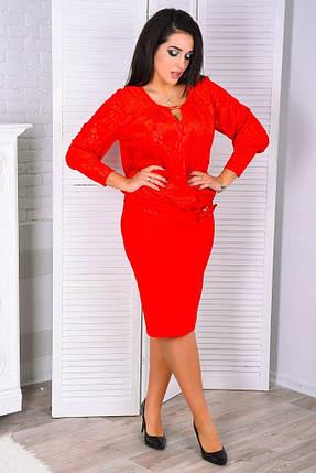 """Великолепное женское платье """"Креп-Дайвинг"""" с вшитой накидкой 50, 52, 54, 56 размер батал, фото 2"""