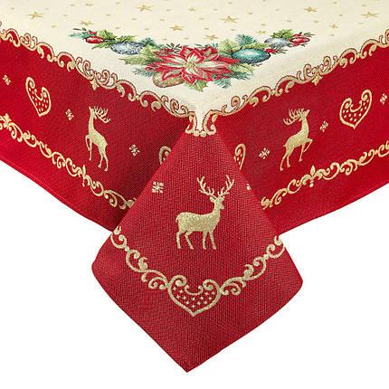 Скатерть новогодняя тканевая гобеленовая 240 х 137 см скатертина новорічна гобеленова, фото 2