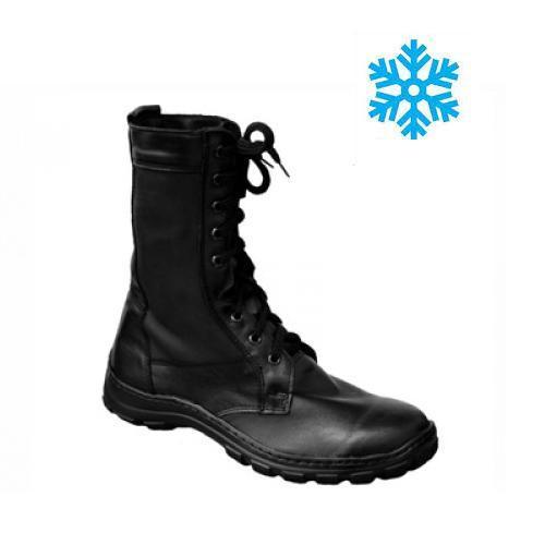Берцы (ботинки с высокими берцами) кожа облегченные Зима (мех) ПУ (литая) подошва черные