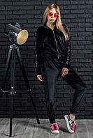 Велюровый костюм женский черного цвета, костюм шикарный с лампасами паетки