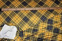 Ткань французский трикотаж , клетка диагональная, горчица ,  плотный, стрейч средний № 363, фото 1