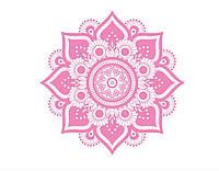Креативная наклейка рисунок на стену и обои для декора дома ReD Mandala 96Х96 см Светло-розовая