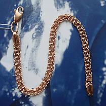 Срібний позолочений браслети, 225мм, 11 грам, плетіння Бісмарк, фото 2