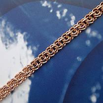 Срібний позолочений браслети, 225мм, 11 грам, плетіння Бісмарк, фото 3