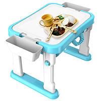Багатофункціональний дитячий ігровий столик SPRING FLOWER Learning Table з лего дошкою Блакитний (SUN5801)