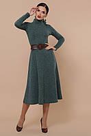 Ангоровое платье миди с длинным рукавом зеленое