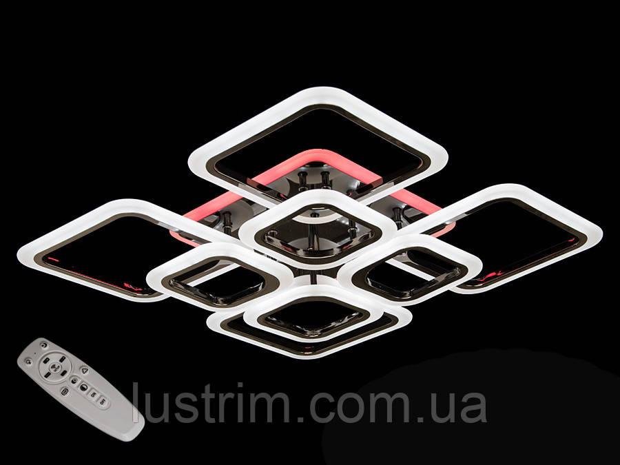 Светодиодная LED люстра с диммером и  подсветкой, цвет чёрный хром, 150W