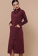 Зимнее платье из ангоры бордового цвета