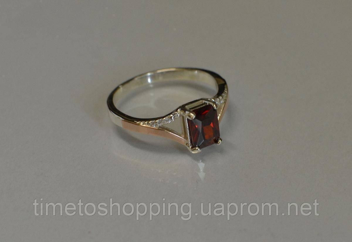 Серебряное кольцо с золотыми пластинами и фианитами