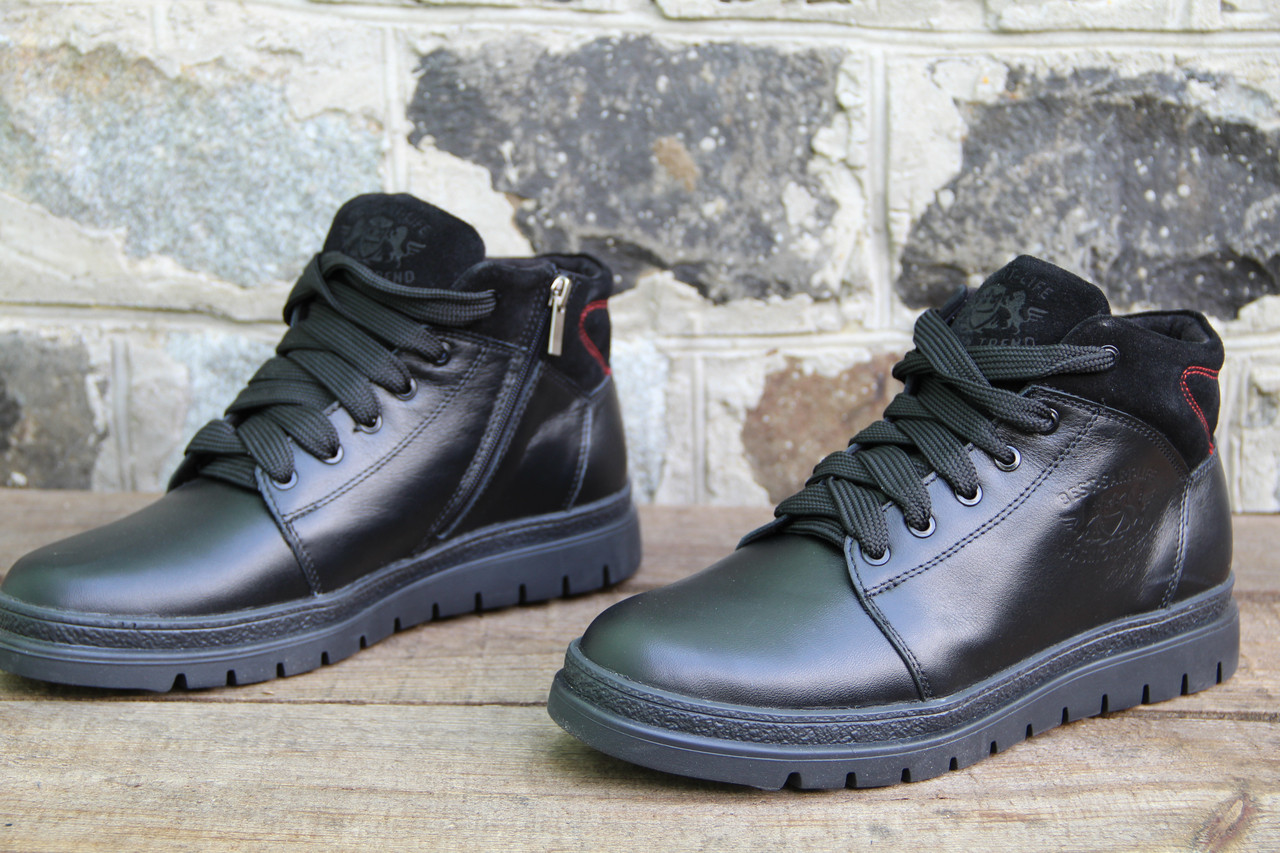 Мужские ботинки зимние из натуральной кожи и меха на молнии SART 826