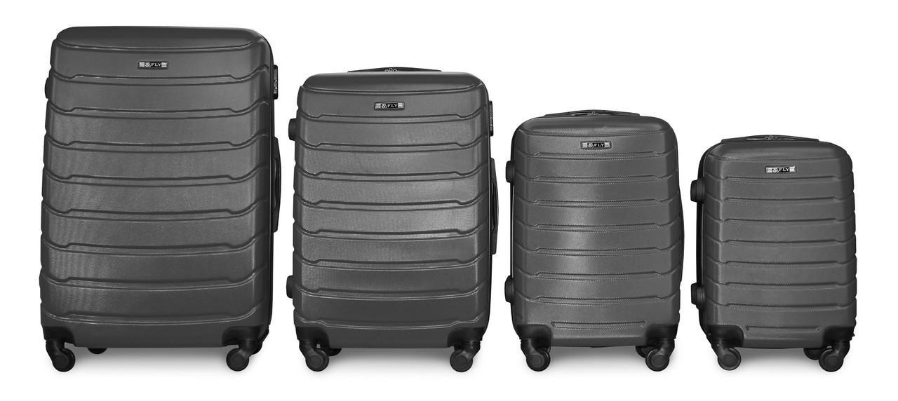 Набор чемоданов 4 штуки в 1 Fly 147 на 4 колесах Темно-серый